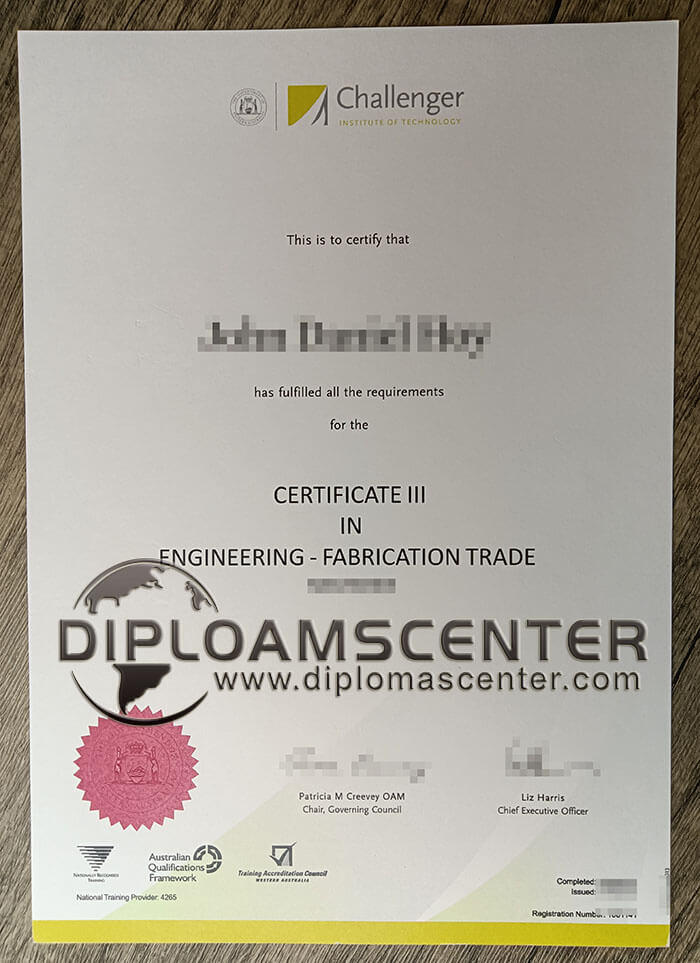 Challenger Inwtitute of Technology diploma.