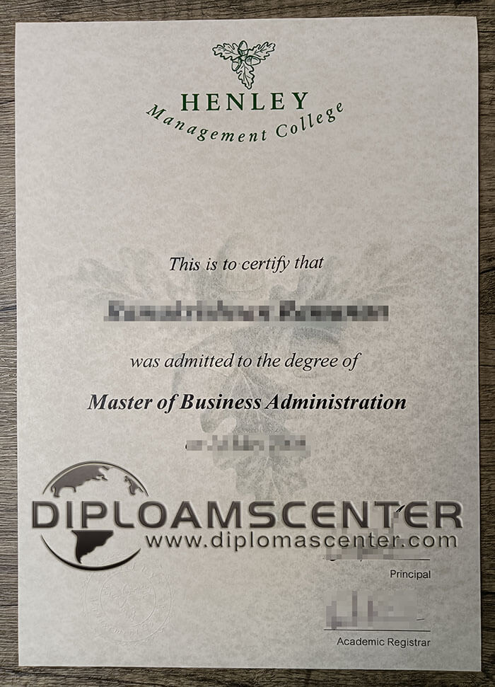 Henley Management College diploma.